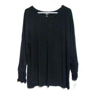 Alfani Long Sleeve Top NWT Size 2X Black Ruched